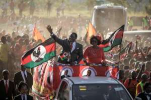 Opposition Malawi Congress Party (MCP) leader and presidential candidate Lazarus Chakwera campaigned in Lilongwe ahead of the vote.  By GIANLUIGI GUERCIA (AFP/File)