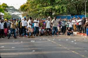 Opposition protesters have taken to the streets in frustration over Weah's economic management.  By Carielle Doe (AFP)