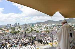 Organisers estimate 100,000 attended the service.  By Handout (VATICAN MEDIA/AFP)