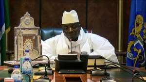Outgoing Gambian President Yahya Jammeh speaks to the press after being defeated during the presidential election