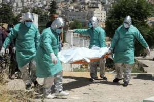 Palestinian health workers transport the body of a coronavirus victim for burial.  By HAZEM BADER (AFP)