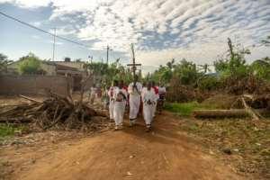 Palm Sunday marks the beginning of Catholic holy week, which culminates in Easter Sunday.  By Zinyange AUNTONY (AFP)