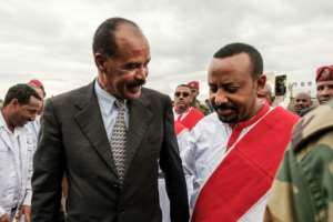 Partners in peace: Eritrean President Isaias Afwerki, left, arrives in Ethiopia on November 9 2018, welcomed by Prime Minister Abiy Ahmed.  By EDUARDO SOTERAS (AFP/File)