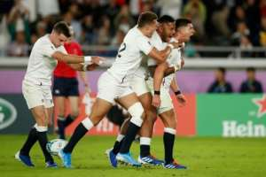 Party time: England's scrum-half Ben Youngs celebrates with George Ford, Henry Slade and Manu Tuilagi.  By Odd ANDERSEN (AFP/File)