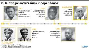 Leaders of the Democratic Republic of Congo since independence in 1960.  By Alain BOMMENEL (AFP)