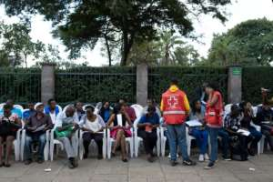 People donate blood in 2019 at the August 7th Memorial Park in Nairobi, the site of a 1998 attack that destroyed the US embassy. By YASUYOSHI CHIBA (AFP/File)