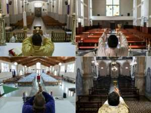 Photo combination showing Easter masses being celebrated in empty churches across Latin America on Sunday, (L-R and top to bottom) Caracas, Tlalnepantla in Mexico, San Jose and Ouro Preto in Brazil.  By CRISTIAN HERNANDEZ, PEDRO PARDO, Ezequiel BECERRA, DOUGLAS MAGNO (AFP)