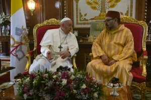 Pope Francis (L) was welcomed to Rabat by Morocco's King Mohammed VI. By Fadel SENNA (AFP)