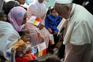 Pope Francis met unwell children at a health centre on Sunday morning. By Alberto PIZZOLI (AFP)