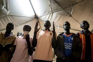 Power of prayer: The rebels have set up two tents for religious observance