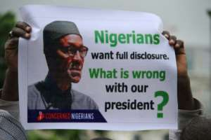 Protesters are demanding details about President Muhammadu Buhari's illness after he's been away in London for more than three months for treatment. They say Buhari should return or resign.