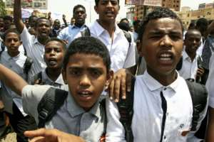 Protests by schoolchildren were held around the Sudanese capital.  By Ebrahim HAMID (AFP)