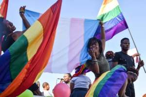 Proud: The LGBT parade in the Namibian capital Windhoek.  By Hildegard Titus (AFP/File)