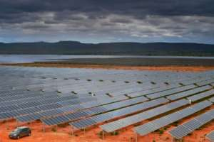Previous studies have found that wind and solar farms, such as this one in Brazil can introduce significant changes in climate at the continental scale by creating rougher, darker land surfaces.  By CARL DE SOUZA (AFP/File)