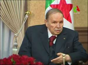 President Abdelaziz Bouteflika appears at a meeting with members of his government in the Algerian capital on March 11, 2019. By - (CANAL ALGERIE/AFP/File)