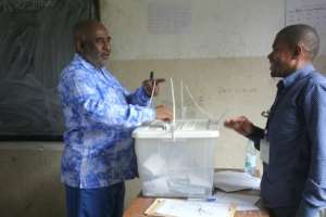 President Azali Assoumani, pictured here casting his vote, and his allies are running virtually unopposed.  By Ibrahim YOUSSOUF (AFP)
