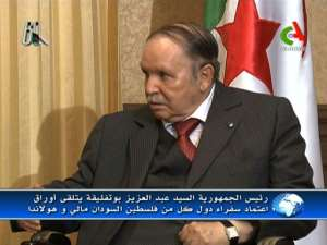President Bouteflika reportedly meets with newly appointed ambassadors in this November 2014 video grab from Algeria's Canal Algerie.  By - (CANAL ALGERIE/AFP/File)
