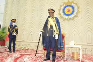 President Deby was named Marshal of Chad at a ceremony at the National Assembly last August.  By Renaud MASBEYE BOYBEYE (AFP)