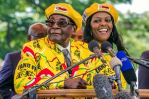 President Mugabe and his wife Grace addressed party members after the vice president, Emmerson Mnangagwa, was sacked -- a move that was followed by the military's warning on Monday
