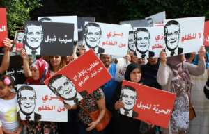 Presidential candidate Nabil Karoui, a media mogul currently in prison on money laundering charges has garnered significant support so far in the presidential race.  By MOHAMED KHALIL (AFP/File)