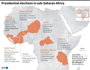 Presidential elections planned or held in sub-Saharan African in the final months of 2020.  By Robin BJALON (AFP)