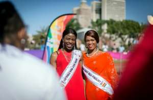 Pride: Fiona Thabatha, left, and Shakira Leota, finalists in the 2017 Miss Gay South Africa competition. The country's 1996 post-apartheid constitution scrapped legal discrimination on the grounds of sexual orientation. By RAJESH JANTILAL (AFP/File)