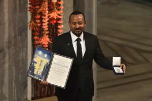 Prime Minister Abiy Ahmed, pictured winning last year's Nobel Peace Prize, called on the TPLF to surrender within three days.  By Fredrik VARFJELL (AFP/File)