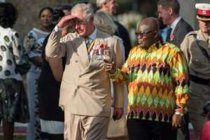 Prince Charles is accompanied by Ghana's President Nana Akufo-Addo during a visit to Accra in early November.  By CRISTINA ALDEHUELA (AFP/File)