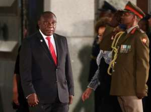 Ramaphosa cited five major goals for the coming decade -- ending hunger, economic growth outstripping population growth, two million jobs for young people, every 10-year-old being able to read and halving violent crime.  By SUMAYA HISHAM (POOL/AFP)
