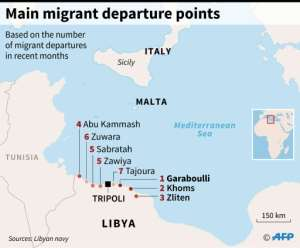 Ranking of Libyan cities used by migrants as jumping-off points for attempts to cross the Mediterranean Sea in recent months.  By William ICKES (AFP)