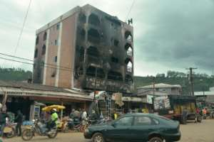 Radical separatists were accused of torching this hotel in Bamenda, the capital of the anglophone Northwest Region