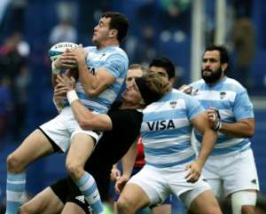 Recalled Argentina full-back Emiliano Boffelli (L) playing against New Zealand in Buenos Aires last month.  By ALEJANDRO PAGNI (AFP)