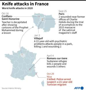 Map of France showing recent knife attacks..  By Robin BJALON (AFP)