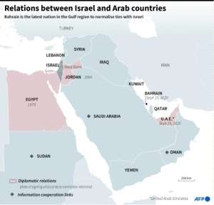 Map of Middle East showing the countries that have established diplomatic relations or have had informal cooperation (economic, visits, etc.) with Israel..  By  (AFP)