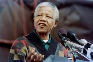 Released in 1990, Nelson Mandela was elected president four years later at the age of 75 in South Africa's first multiracial election.  By WALTER DHLADHLA (AFP/File)