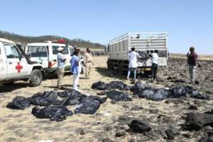 Rescue teams collect bodies at the crash site of an Ethiopia Airlines plane which came down near the capital Addis Ababa, killing all 157 on board. By Michael TEWELDE (AFP)