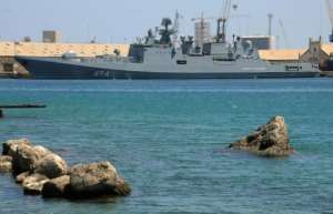 Russia's RFS Admiral Grigorovich frigate seen on March 1 anchored in Port Sudan.  By - (AFP)