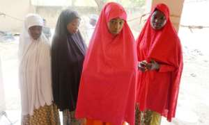 Schoolgirls Zahra Bukar, 13, Fatima Abdu, 14, Fatima Abdulkarim, 15 and Yagana Mustapha, 15, were able to flee the attack.  By AMINU ABUBAKAR (AFP)