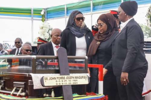 Samia Suluhu Hassan, second right, took over from hardliner John Magufuli, who died in circumstances that remain unclear. By - (AFP)