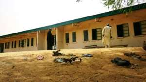 Sandals were strewn around the school after the attack