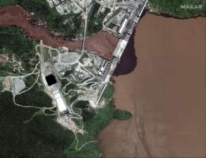 Satellite pictures this week showed water building up behind the dam (image by Maxar Technologies).  By Handout (Satellite image ©2020 Maxar Technologies/AFP)
