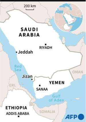 Map showing Jizan city in Saudi Arabia where Ethiopian migrants, expelled from Yemen, are being held in detention centres under harrowing conditions, detainees have said via smuggled mobile telephones..  By  (AFP)