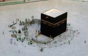 Saudi Arabia emptied Islam's holiest site in Mecca to sterilise it.  By ABDEL GHANI BASHIR (AFP)