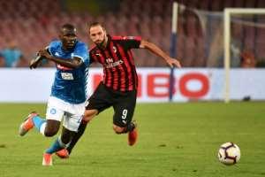 Senegalese defender Kalidou Koulibaly helped stifle Argentine forward Gonzalo Higuain as Napoli fought back to beat Milan..  By Alberto PIZZOLI (AFP)