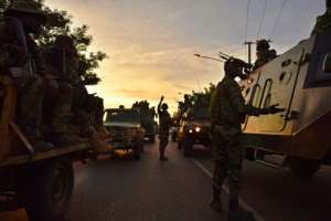 Senegalese ECOWAS (Economic Community of West African States) soldiers arrive in Banjul on January 22, 2017
