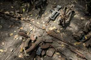 Senegalese troops showed weapons, ammunition and other items at a captured base.  By JOHN WESSELS (AFP)