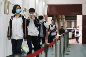 Senior students were back at school in Wuhan, where the virus first emerged.  By STR (AFP)