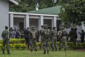 Security was tightened at the court for a ruling on a case that has gripped the nation.  By AMOS GUMULIRA (AFP)