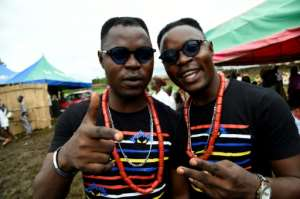 Seeing double: Hip-hop artists and identical twin brothers Alese Kehinde Akat, left, and Alese Taiwo Akat.  By PIUS UTOMI EKPEI (AFP)