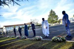 Show of solidarity: Sahel leaders gathered with French President Emmanuel Macron in January to lay wreaths in honour of seven French soldiers who died in a helicopter crash in Mali.  By Alvaro BARRIENTOS (POOL/AFP)